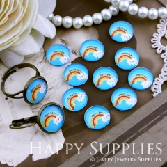 10pcs 12mm Rainbow Cloud Handmade Photo Glass Cabochon GC12-169