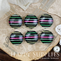 10pcs 12mm Colorful Stripe Handmade Photo Glass Cabochon GC12-968