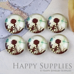 10pcs 12mm Flower and Drangonfly Handmade Photo Glass Cabochon GC12-1235