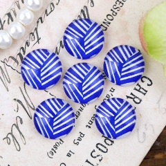 10pcs 12mm Blue Line Handmade Photo Glass Cabochon GC12-1276