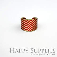 1pcs Red Pattern Handmade Photo Brass Ring PR063