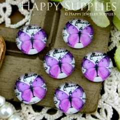 10pcs 12mm Butterfly Handmade Photo Glass Cabochon GC12-226