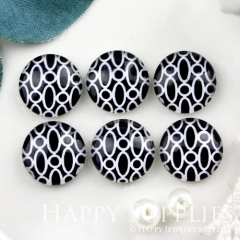 10pcs 12mm Geometric Black White Handmade Photo Glass Cabochon GC12-893