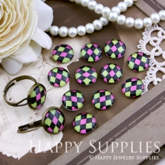 10pcs 12mm Geometric Colorful Diamond Handmade Photo Glass Cabochon GC12-144