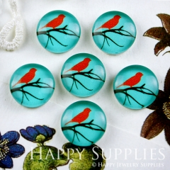 10pcs 12mm Bird Tree Blue Handmade Photo Glass Cabochon GC12-071