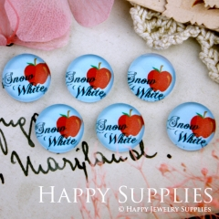 10pcs 12mm Apple Snow White Handmade Photo Glass Cabochon GC12-278