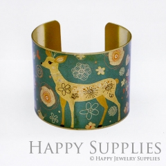 1pcs Deer Bird Handmade Photo Brass Cuff Bracelet PBC006