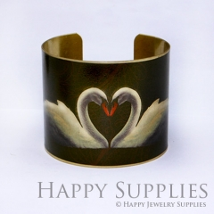 1pcs Swan Handmade Photo Brass Cuff Bracelet PBC005