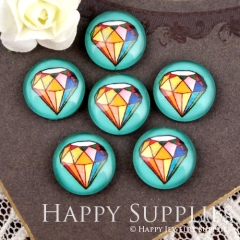10pcs 12mm diamond Handmade Photo Glass Cabochon GC12-916