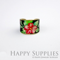 1pcs Flower Handmade Photo Brass Ring PR056
