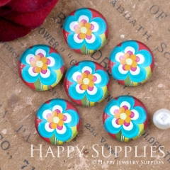 10pcs 12mm Flower Handmade Photo Glass Cabochon GC12-1098