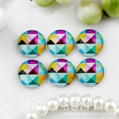 10pcs 12mm Geometric Colorful Handmade Photo Glass Cabochon GC12-796