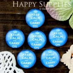 10pcs 12mm Blue Keep Calm Carry On Handmade Photo Glass Cabochon GC12-697