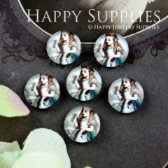 10pcs 12mm Girl Alice Handmade Photo Glass Cabochon GC12-053