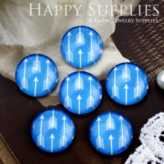 10pcs 12mm Arrow Blue Handmade Photo Glass Cabochon GC12-859