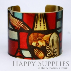 1pcs Pray Handmade Photo Brass Cuff Bracelet PBC042