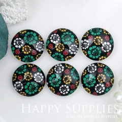 10pcs 12mm Flower Colorful Handmade Photo Glass Cabochon GC12-1006