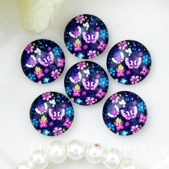 10pcs 12mm Flower Handmade Photo Glass Cabochon GC12-1037