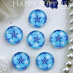 10pcs 12mm Blue Star Handmade Photo Glass Cabochon GC12-338