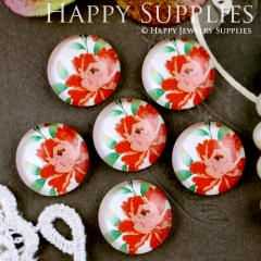 10pcs 12mm Flower Handmade Photo Glass Cabochon GC12-304