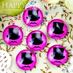 10pcs 12mm Hat beard Handmade Photo Glass Cabochon GC12-355