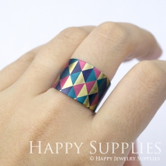 1pcs Triangle Handmade Photo Brass Ring PR069