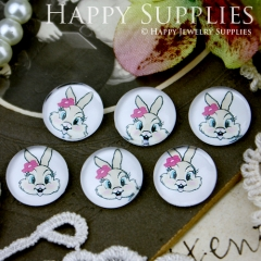 10pcs 12mm Rabbit Handmade Photo Glass Cabochon GC12-243