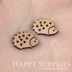 4pcs DIY Laser Cut Wooden Hedgehog Charms SWC01