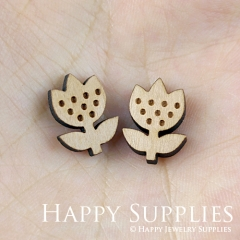 4pcs DIY Laser Cut Wooden Flower Charms SWC123
