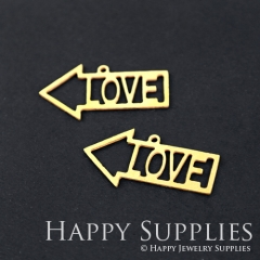 10pcs Raw Brass Arrow Love Charm Pendant Fit For Necklace Earring Brooch RD148