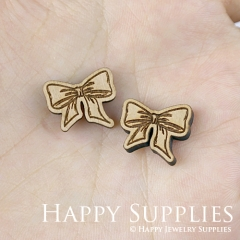 4pcs DIY Laser Cut Wooden Bow Charms SWC148