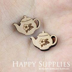 4pcs DIY Laser Cut Wooden Teapot Charms SWC133