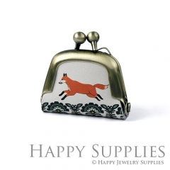 1pcs Fox Handmade Tiny Antique Bronze Photo Leather Purse Pendant Necklace QW065