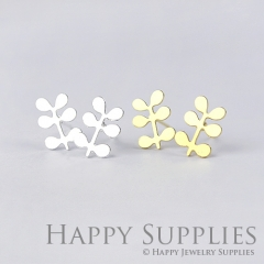 1pair Leaves Plant Dual-used Golden Silver Rose Golden Brass Earring Post Finding With Ear Studs Back Stoppers ZEN039