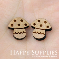 4pcs DIY Laser Cut Wooden Mushroom Charms SWC17