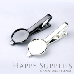 2pcs Nickel Free Tie Clip With 18mm Round Pad (XJ167)