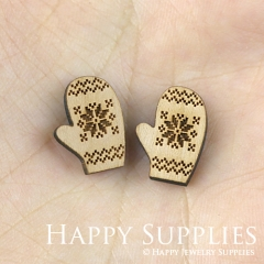 4pcs DIY Laser Cut Wooden Gloves Charms SWC117