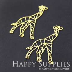 4pcs Raw Brass Giraffe Charm Pendant Fit For Necklace Earring Brooch RD111