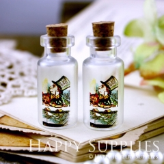 4pcs 35x16mm Alice in Wonderland Handmade Photo Glass Tiny Bottle Vials Pendants PB-M12