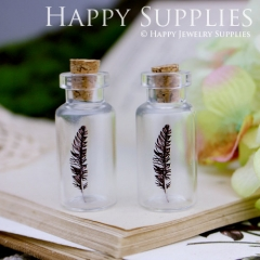 4pcs 35x16mm Feather Handmade Photo Glass Tiny Bottle Vials Pendants PB-M18