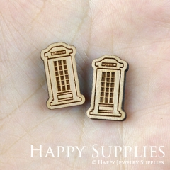 4pcs DIY Laser Cut Wooden Telephone Booth Charms SWC127