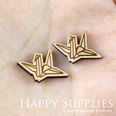 4pcs DIY Laser Cut Wooden Paper Cranes Charms SWC137