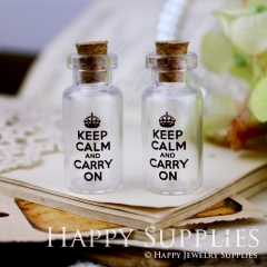 4pcs 35x16mm Keep Calm and Carry On Handmade Photo Glass Tiny Bottle Vials Pendants PB-M05