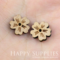 4pcs DIY Laser Cut Wooden Flower Charms SWC06