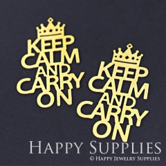 Exclusive-4pcs Raw Brass Keep Calm And Carry On Crown Charm Pendant Fit For Necklace Earring Brooch RD155
