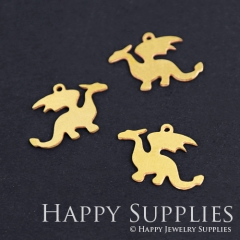 10pcs Raw Brass Dragon Charm Pendant Fit For Necklace Earring Brooch RD165
