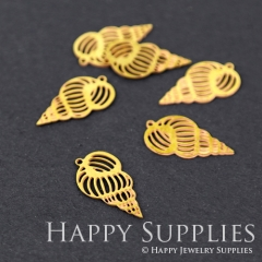 10pcs Raw Brass Shell Charm Pendant Fit For Necklace Earring Brooch RD046