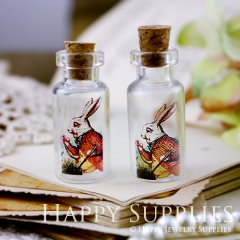 4pcs 35x16mm Alice in Wonderland Mr.Rabbit Handmade Photo Glass Tiny Bottle Vials Pendants PB-M13
