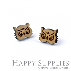 4pcs DIY Laser Cut Wooden Owl Charms SWC150