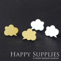 1pair Cloud Dialog Dual-used Golden Silver  Rose Golden Brass Earring Post Finding With Ear Studs Back Stoppers ZEN033